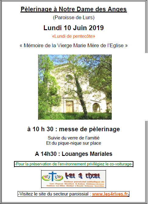 pélerinage ND Anges juin 2019